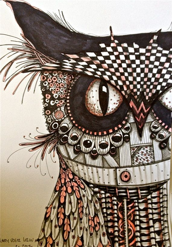 Ink drawing owl art...this is the kind of stuff that really excites me! I must ALWAYS have markers and paper near me...especially near my bed! I wake up and draw sometimes... A pattern or picture from a dream, etc!