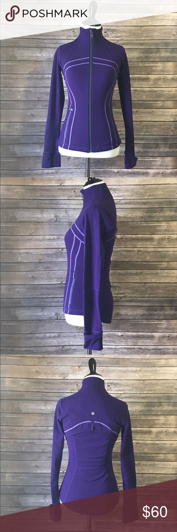 Lululemon Athletica purple define jacket sweater 4 Gently used Lululemon jacket  Some pilling here and there throughout the jacket but not serious. Great condition.  Zippers have discoloring. **Shown in photos.  Size 4    ❌I do NOT trade ❌ 🛍10% off 2+ item bundles 📸Instagram @Yami.Boutique (Exclusive Pop Up Discount codes ONLY for my followers!) lululemon athletica Jackets & Coats