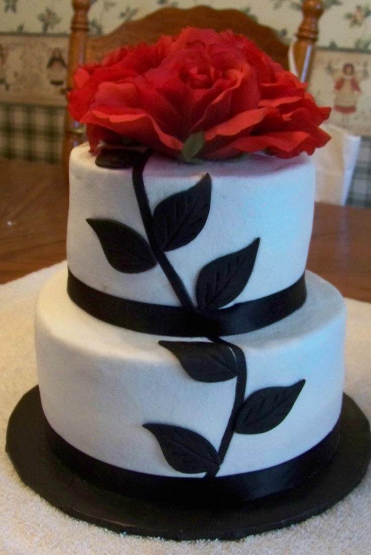 Red and black wedding cake..