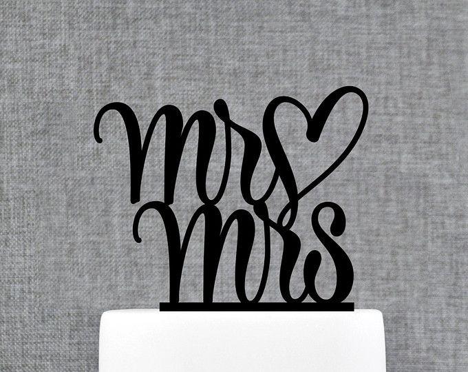 El Sr. y la Sra. torta de bodas con el corazón, tradicional y elegante Toppers de la torta de boda en su elección de Color (T207)
