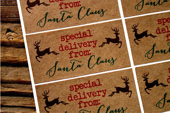 Merry Christmas Stickers - Merry Christmas Labels - Merry Christmas Stickers - Christmas Gift Stickers - Kraft Stickers - Kraft Labels by TrocaderoKraft on Etsy