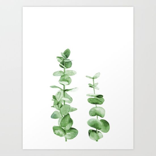 Eucalyptus leaves. Art Print by Art By ASolo. Worldwide shipping available at Society6.com. Just one of millions of high quality products available.