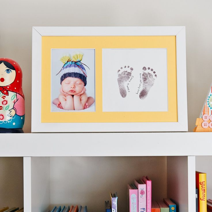Decorate the nursery with a gorgeous baby footprint frame of your child's hands or feet. These baby print frame kits create the most stylish keepsake.
