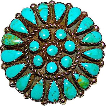 Vintage Navajo Sterling Silver Turquoise Rosette Cluster Brooch Pin Pendant by Collectible Jerome Begay Signed Native American Jewelry - found at www.rubylane.com @rubylanecom