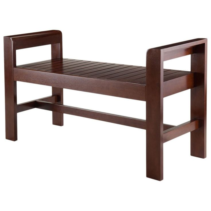Wooden Benches Indoor ~ Winsome home thomas espresso wood indoor slatted seat