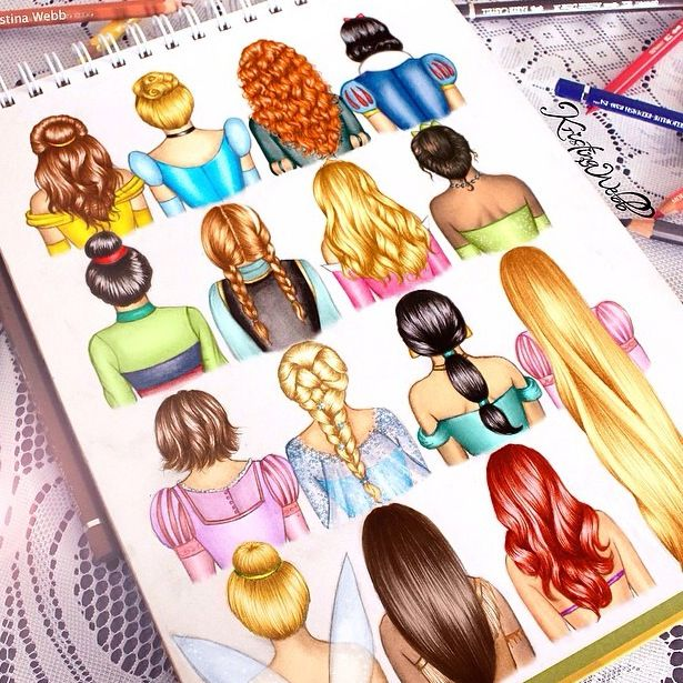disney hair drawn by Kristina Webb!!! GIVE HER CREDIT PLEASE!!! how would you feel if you saw your drawing go viral and didn't have credit or nobody believed it was yours