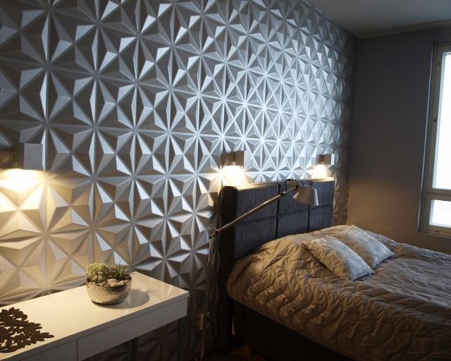 Modern #bedroom.#3D-panels #led-lightning #interiordesign #wallcovering