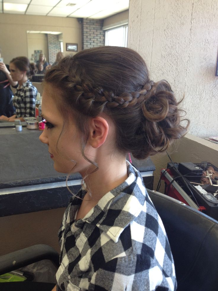Formal updo for prom this year. Curled bun with French braid
