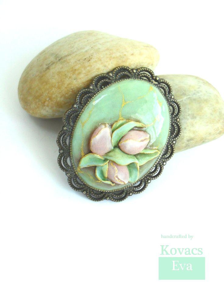 Vintage style brooch.Mint tulip brooch.Handmade 3D tulips.