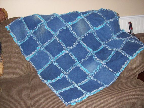 Handmade Upcycled Rag Quilt or Rug - Denim and Cotton.    It is 42 x42 inches. It is made from upclycled denim jeans and blue cotton.    $72.99