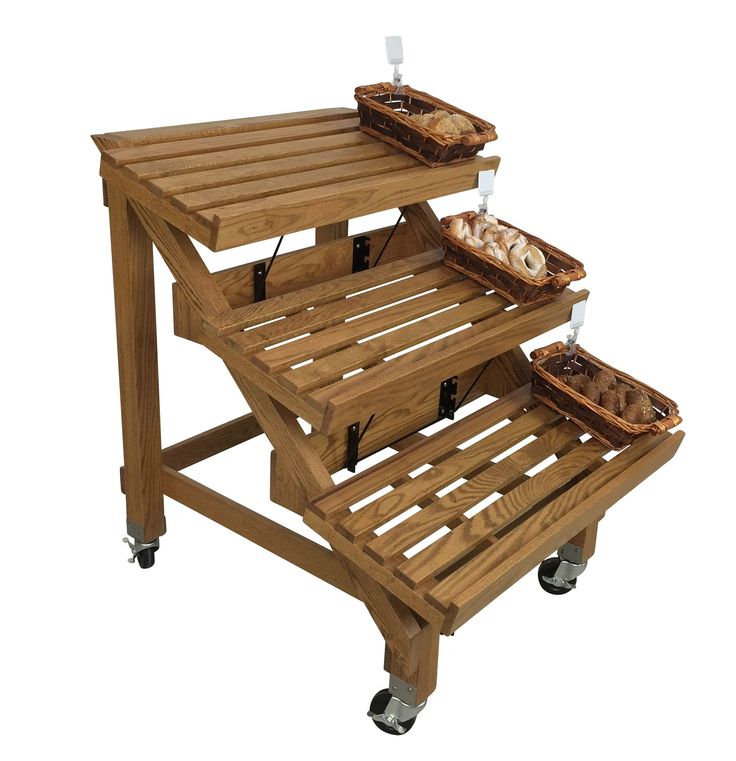 Wooden Bread Display Shelving Rack : Solid Oak, Custom Stained Free!