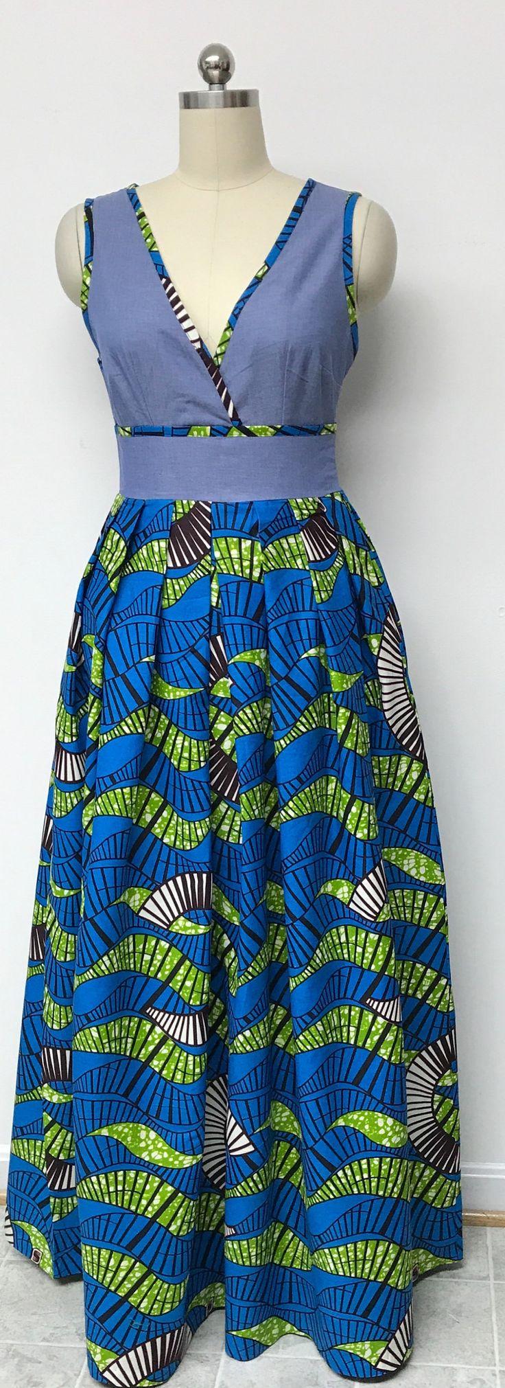 Collection DENWAX 2019. Robe maxi sans manches en denim imprimé africain. Taille plissée. Poches. Womens. été. fait. fait sur commande