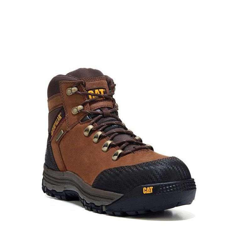 "Caterpillar Men's Munising 6"" Waterproof Composite Toe Work Boots (Brown Leather) - 12.0 W"