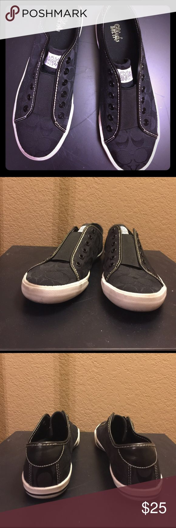 Barely worn Coach slip on tennis shoes size 10 Almost new Coach slip on tennis shoe size 10- white part has some markings but I'm sure someone who knows how to clean and take care of tennis shoes could make them look brand new again! Coach Shoes Athletic Shoes