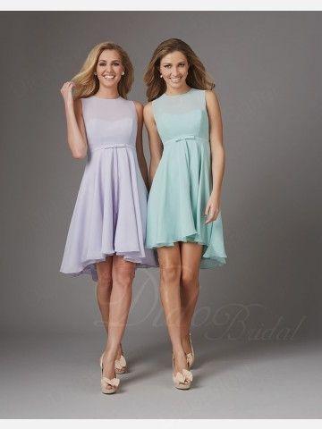 Chiffon Beteau Neckline Asymmetrical Bridesmaid Dress - Didobridal