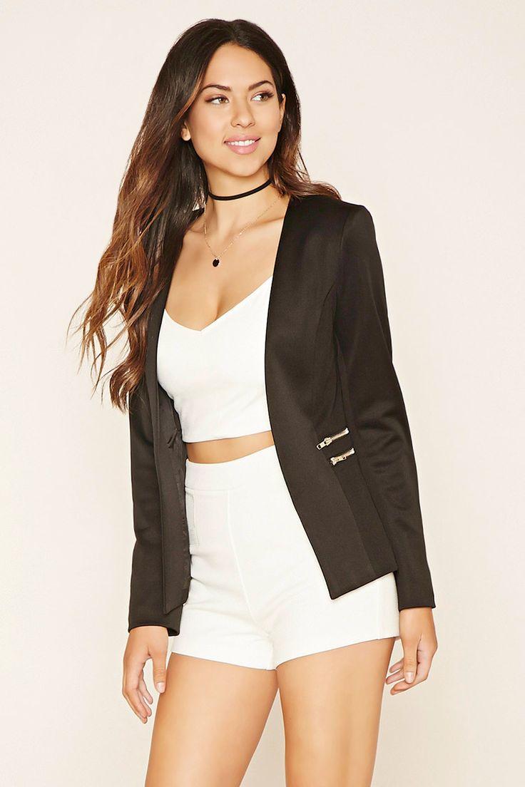 Zippered Open-Front Blazer