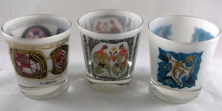 Signed H. Sternberg 3 Frosted Glass Liquor Tumblers Painted Votives Midcentury
