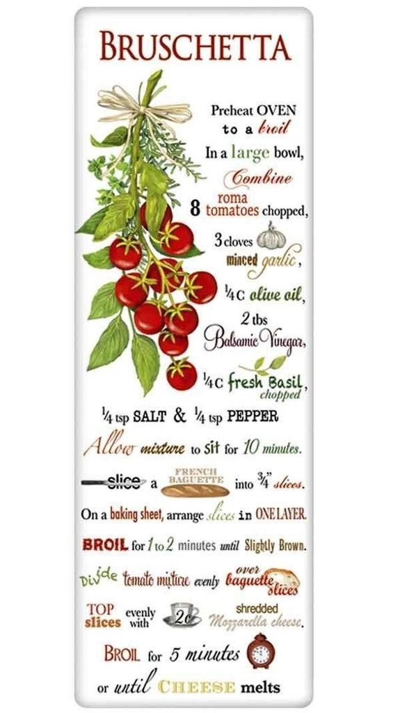 Cherry Tomatoe Bruschetta Recipe 100% Cotton Flour Sack Dish Towel Dishtowel Tea Towel www.aloveofdishtowels.com