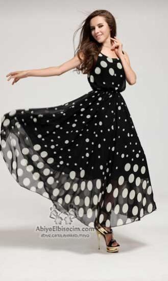 Uzun siyah beyaz puantiyeli şifon ,bayan elbise,yazlık elbiseler,uzun elbise,şifon elbise elbise modelleri ve fiyatla