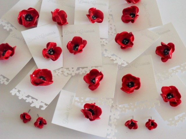 poppy brooches and earrings