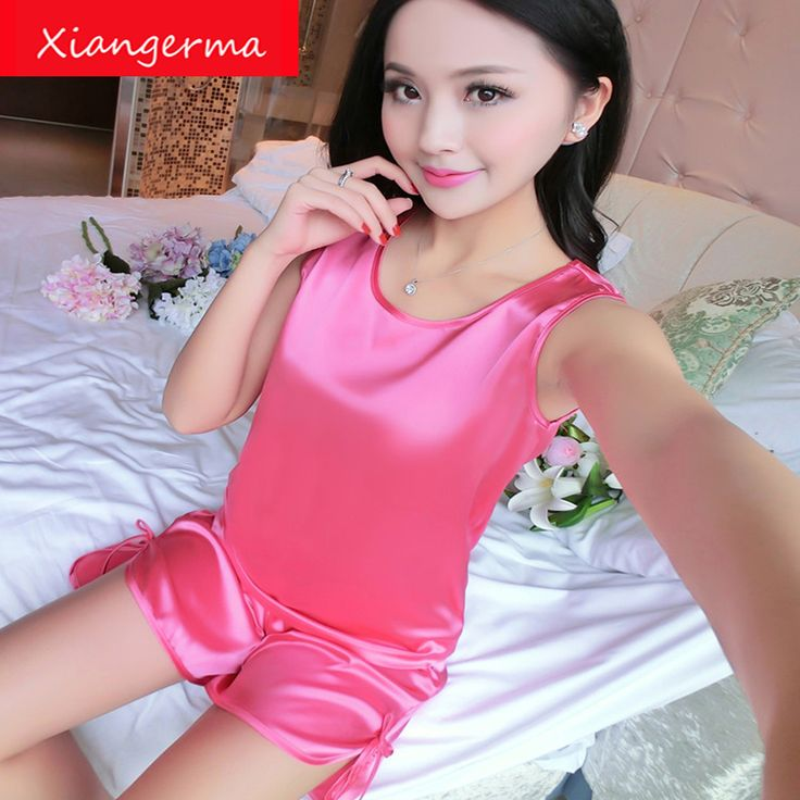 Summer Sleepwear Shorts Women Pajamas Sets Suits nightgown satin nighties shirts silk sleep night gown free shipping #Affiliate