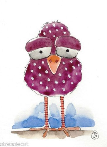 ACEO-Original-watercolor-painting-Folk-Art-illustration-Whimsical-purple-bird