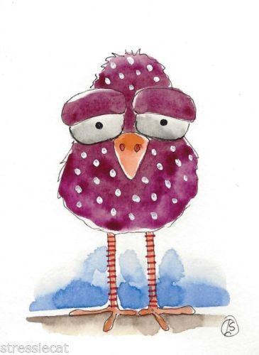 ACEO-Original-watercolor-painting-Folk-Art-illustration-Whimsical-purple-bird