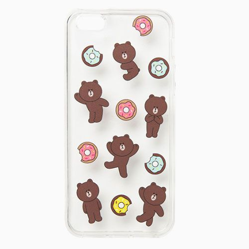 Line Friends Brown Donut iPhone 6 6s Plus Jelly Clear Fitted Case Skin Cover TPU #NaverLineFriends