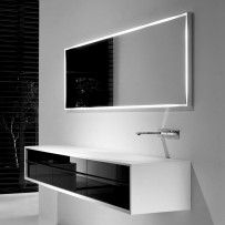 shape cabinet and washbasin black gloss