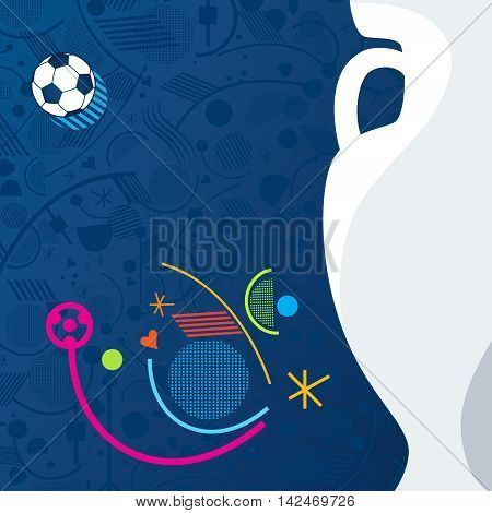 UEFA. EURO 2016 European Championship Soccer geometric blue background with soccer ball and lines, shapes. Pattern Vector illustration football, sport.