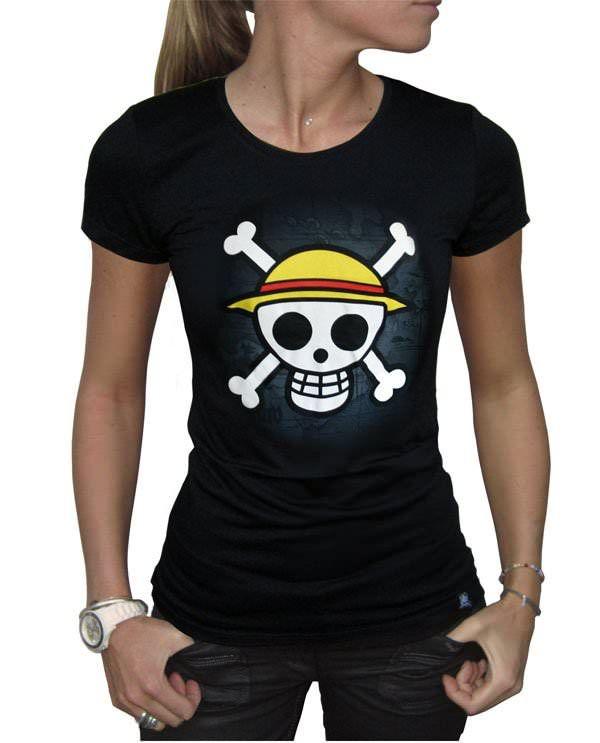 T-Shirt One Piece Logo sur carte noire Femme - 22,99€ - #Logostore