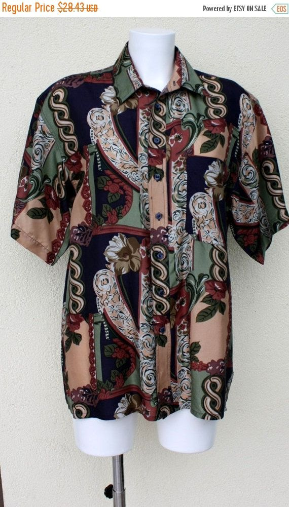 ON SALE Mens Silk shirt  novelty artsy swirls by PitzicatVintage