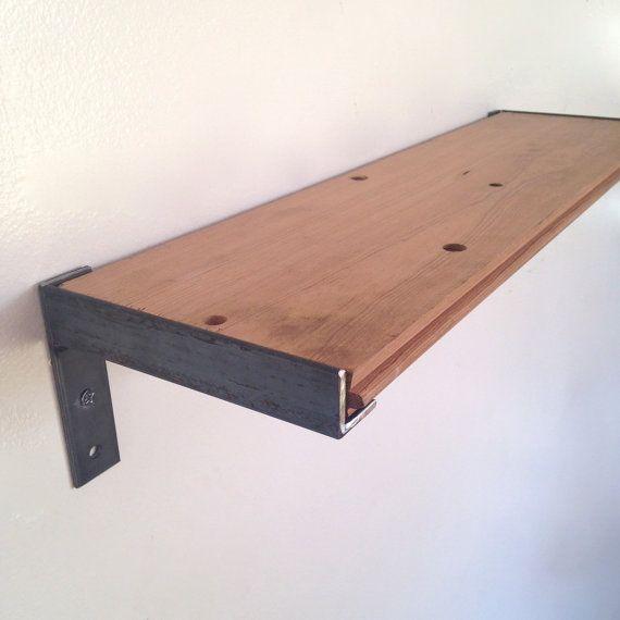 Wood And Metal Wall Shelves wall shelf // kitchen shelf // reclaimed wood & steel #shelf