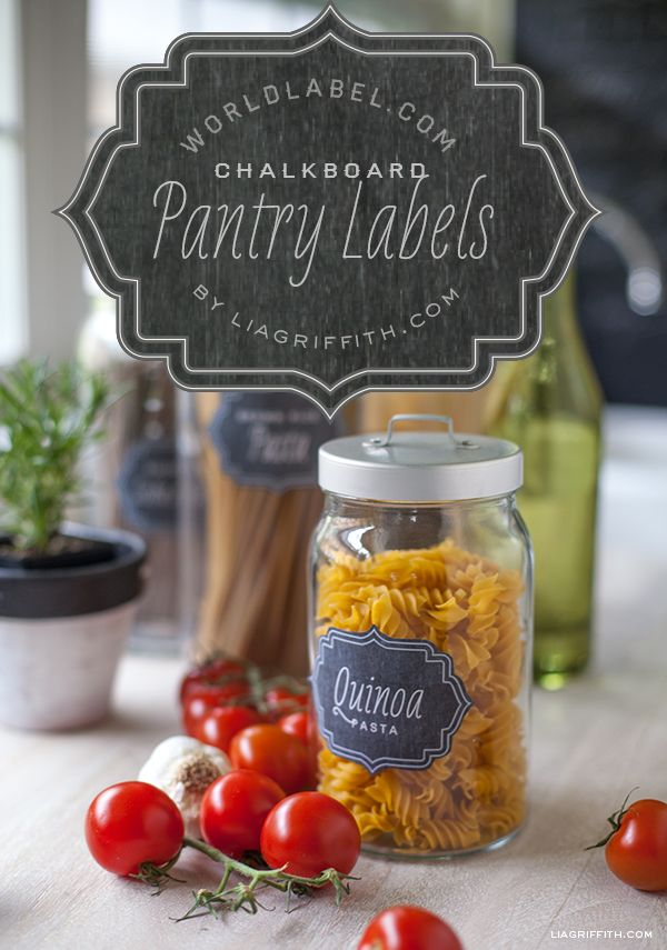 In a vintage chalkboard design, here is a full kit of pantry labels to add a stylish touch to your kitchen and even inside your cupboards. Designed by Lia Griffith of liagriffith.com Included is also a set of Gluten Free Pantry Labels.