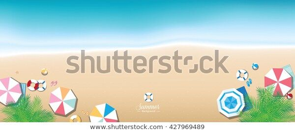 Colorful Summer Beach Panoramic Banner Background เวกเตอร สต อก ปลอดค า ล ขส ทธ 427969489 ภาพประกอบ