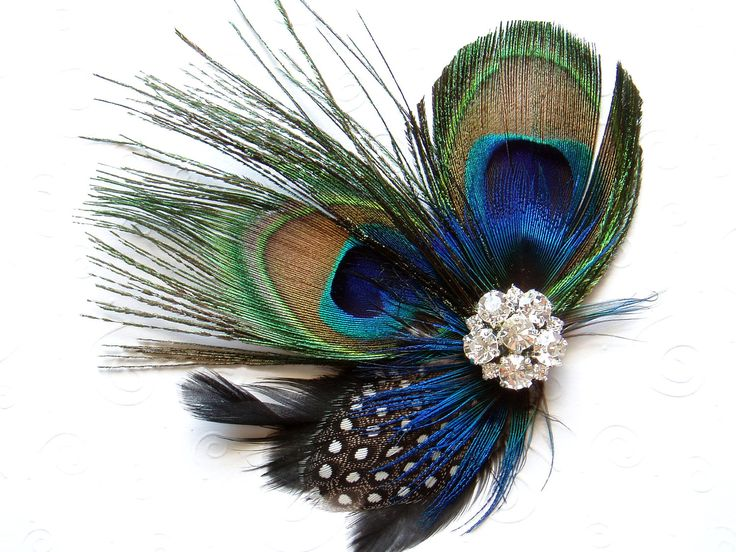 Blue Peacock Feather Hair Clip WEDDING Hair Piece Bridal Accessories Fascinator bridesmaid gift Bridal Shower. $36.00, via Etsy.