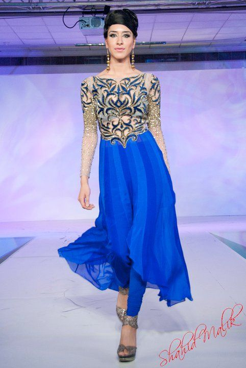 Nivedita Saboo - absolutely stunning cobalt blue and nude/sheer sleeves! #indianwedding #indianclothes