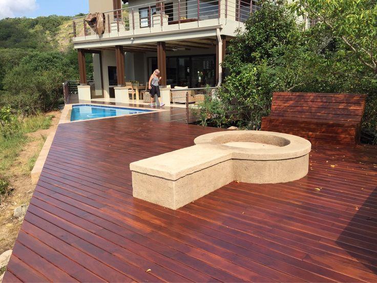 A new rhodesian teak deck & benches in Shandon Estate.