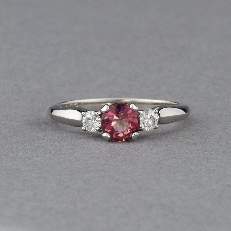 Pink Maine Tourmaline & Diamond Ring