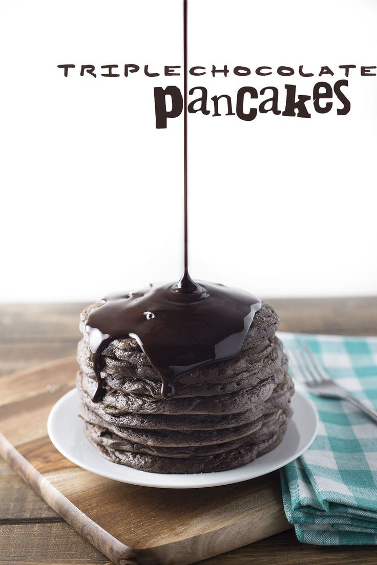 Triple chocolate pancakes. Chocolate pancakes with mini chocolate chips and a chocolate drizzle. #breakfast #chocolate @sweetasacookie   [..]