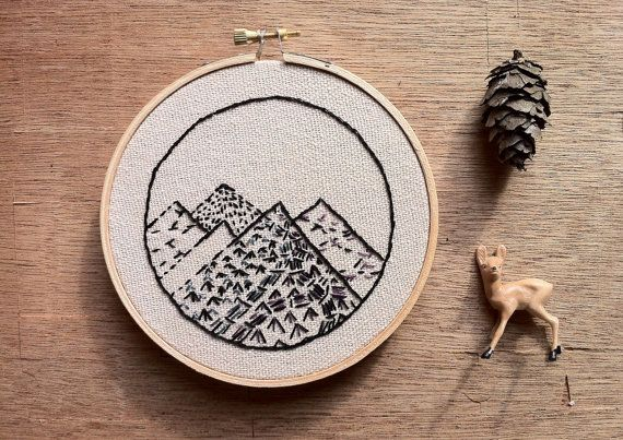 Little Mountain Range Hand Stitched Embroidery Hoop Art
