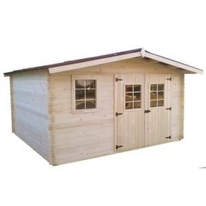 Abri   CAPRI  4,0 x 4,0 m Réf.   BOU4040.02N   Le plus de cet abri : Une couverture de toit robuste et durable en plaques ondulées (bien plus résistantes que du feutre bitumé)             Abri en madriers massifs épaisseur 28 mm  Dimensions tota
