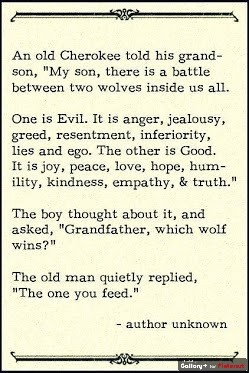 Love this, it's a cliche now so many people have posted... but it's still true... the one you feed