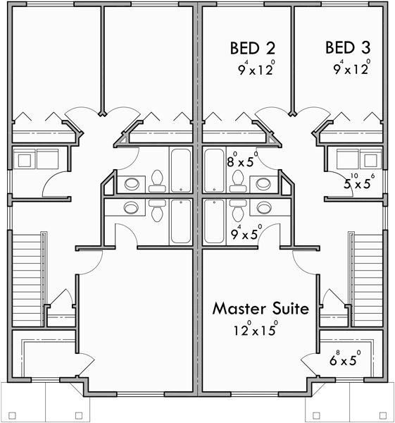 43f0264b90c4922834d2b32ecedd3840--plan-duplex-duplex-house-plans Duple House Plan With Garages Two Story on