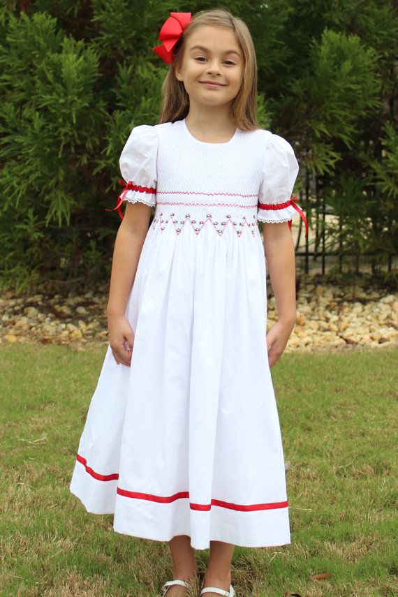 Smocked Christmas Dress White And Red Heirloom By