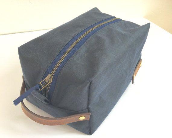 Waxed cotton dopp kit bag Christmas gift under 50