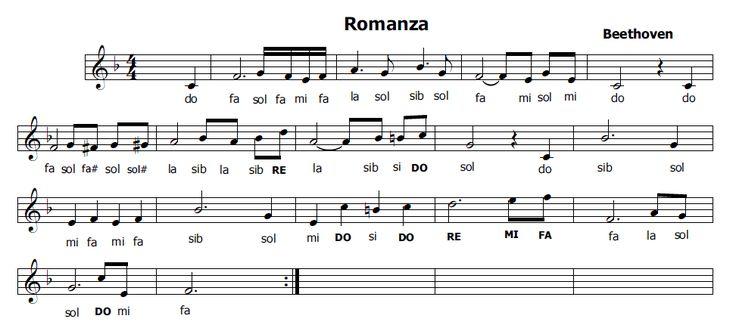 Musica e spartiti gratis per flauto dolce: Romanza di Beethoven
