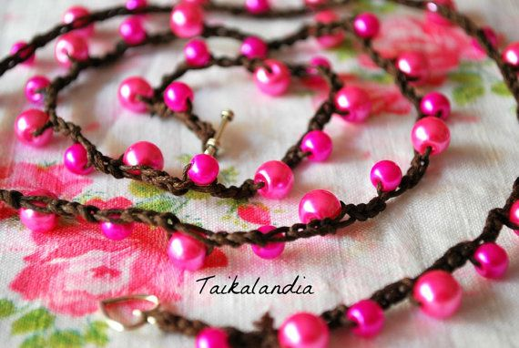 Pink Glass Pearl Crochet Bracelet Bohemian crochet…