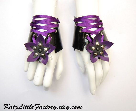 Cyber Flowers purple and black  PVC corset cuffs leather bracelets with ribbons