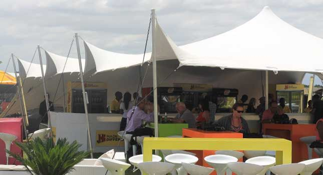 Stretch tents are the perfect temporary structures for outdoor events. How awesome is this bar area!
